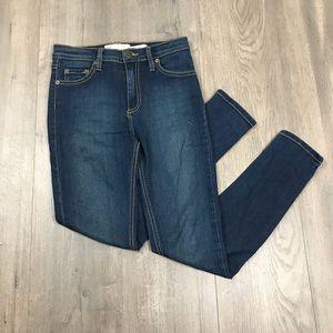 Free People Dark Wash Hi Rise Skinny Jeans 25